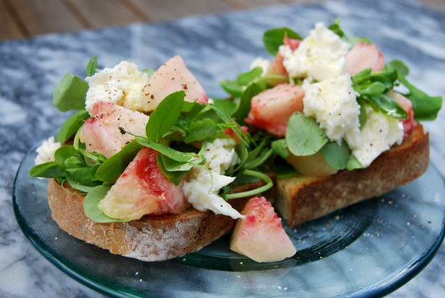 White Peach, Mozzarella & Pea Shoot Bruschetta inspired by Polpo