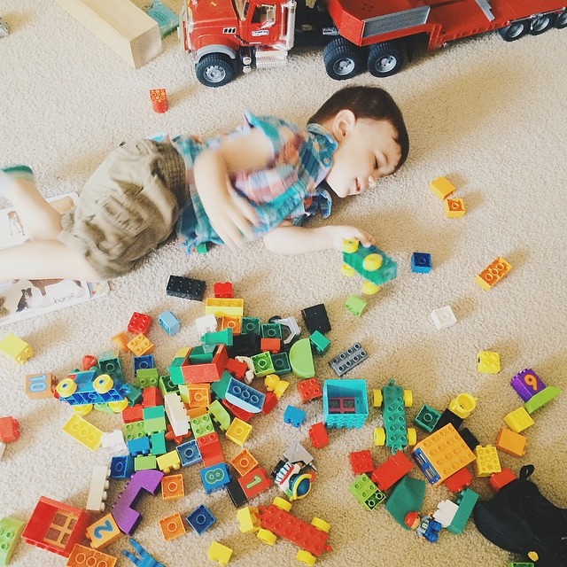 We bought L some more duplos. Now the place will really never be clean. #instaluther #legos #toddler #children