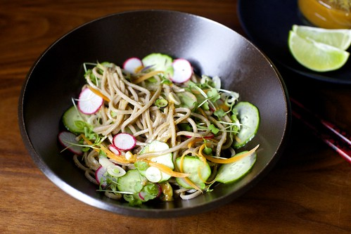 cold buckwheat noodles with miso and ginger