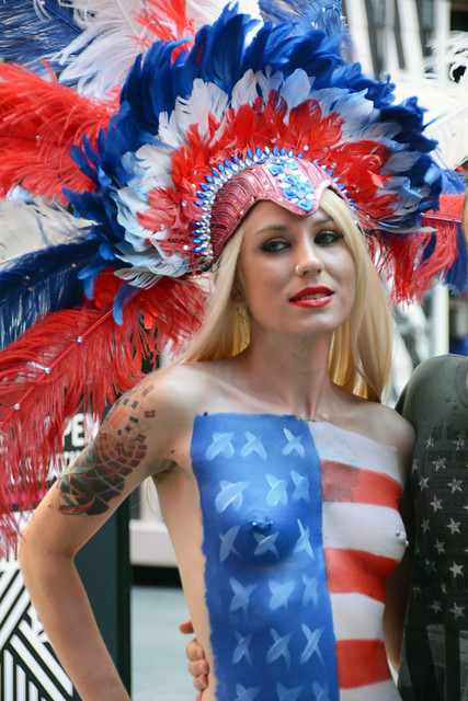 Women in times square in nyc wearing only body paint for Full body paint job