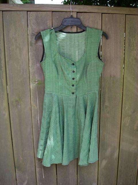 green gingham dress