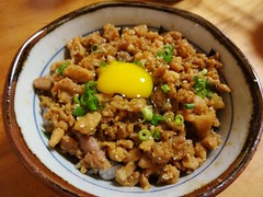 Minced Chicken Bowl with Raw Quail Egg @Torishige,…