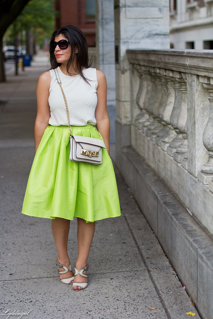 poofy neon green skirt, beaded silk top, grayson bag.jpg
