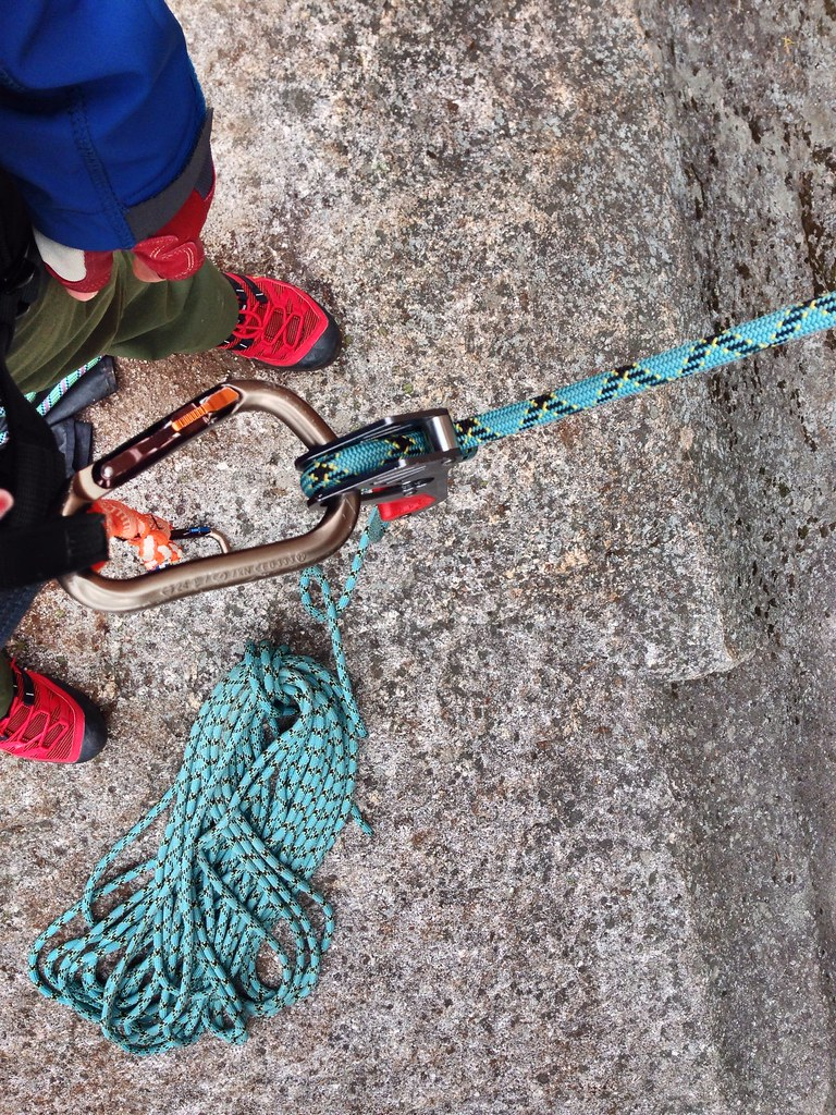 Hands-free belaying.