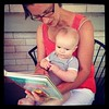 "Repost from Aunt Mandi @mandilor - Haywood and Grandma deep in the pages of, ""I Am A Bunny"""