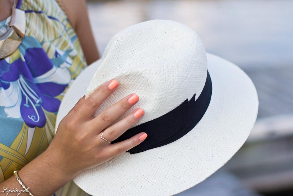 Tropical print dress, straw clutch, white sandals.jpg