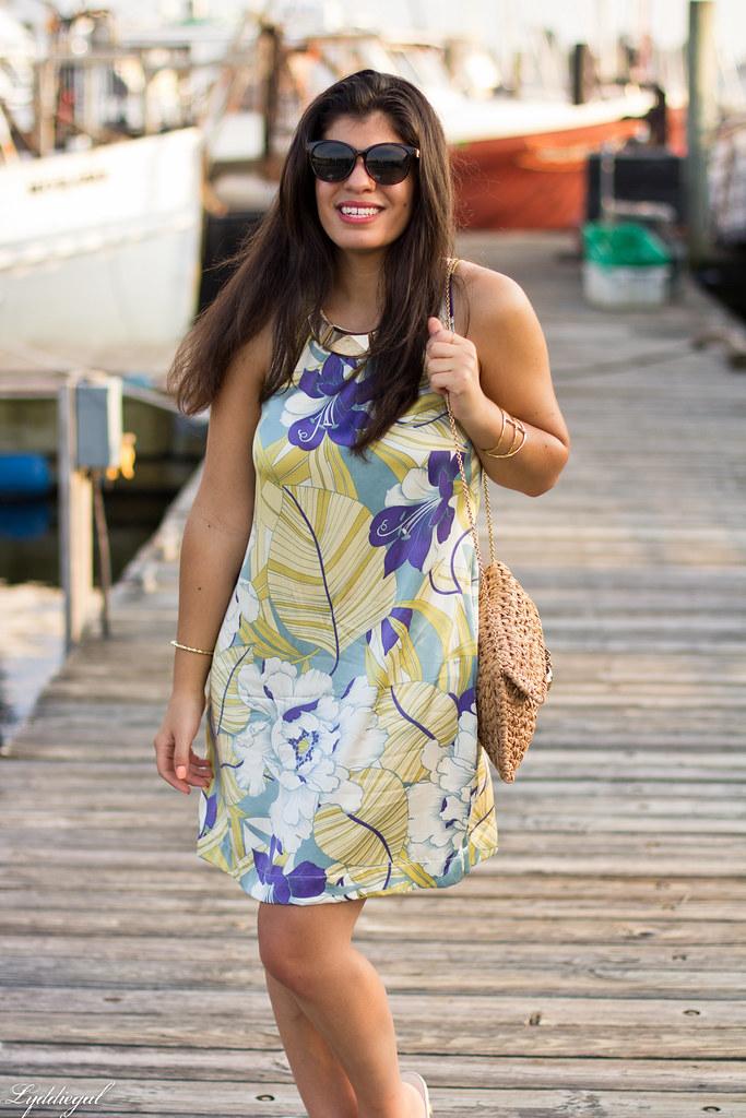Tropical print dress, straw clutch, white sandals-6.jpg