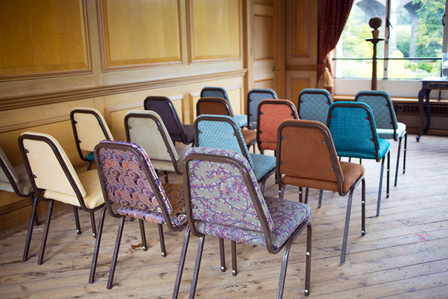 mismatched tapestry wedding chairs