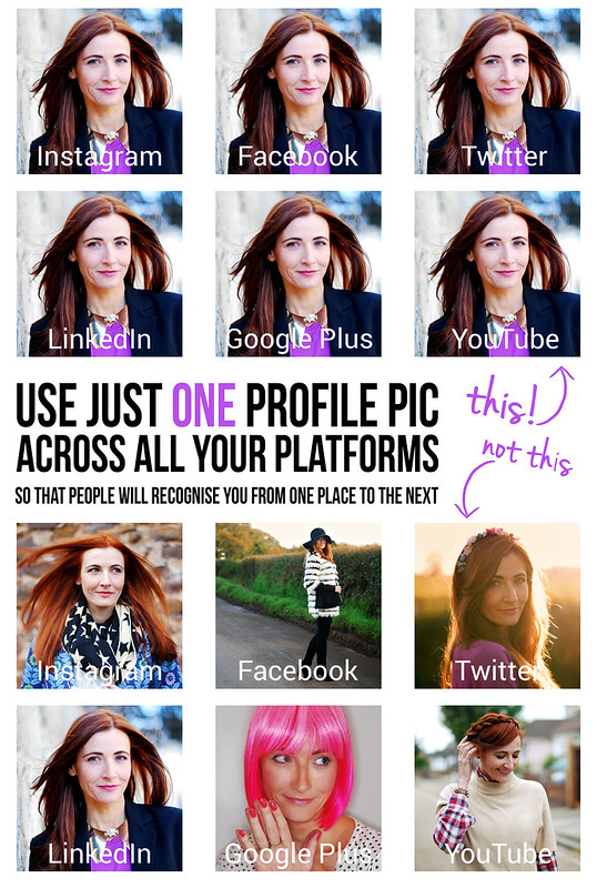 Social Media Tip: Use just ONE profile pic across all your platforms - use just one avatar