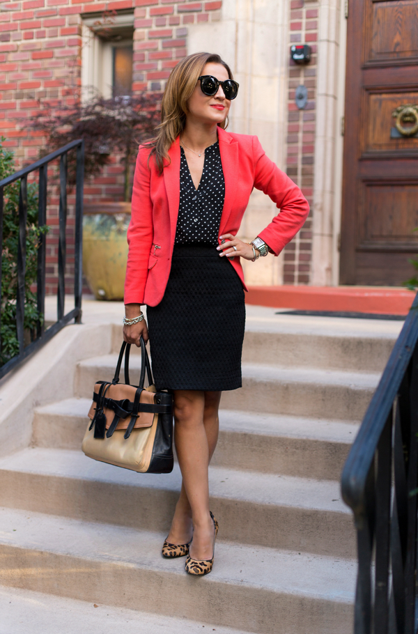 Work outfit with coral blazer