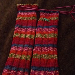 Aaaaaalllllllmost done! #matchingstripes #knit #legwarmers