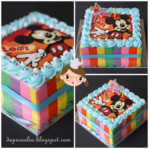 Rainbow Cake with Colorful Chocolate and Mickey Decoration