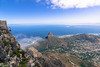 Looking out across Cape Town from the top of Table Mountain, looking down towards Signal Hill.