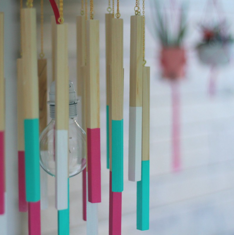how to make a diy color cord company wooden dowel pendant light via Kristina J blog