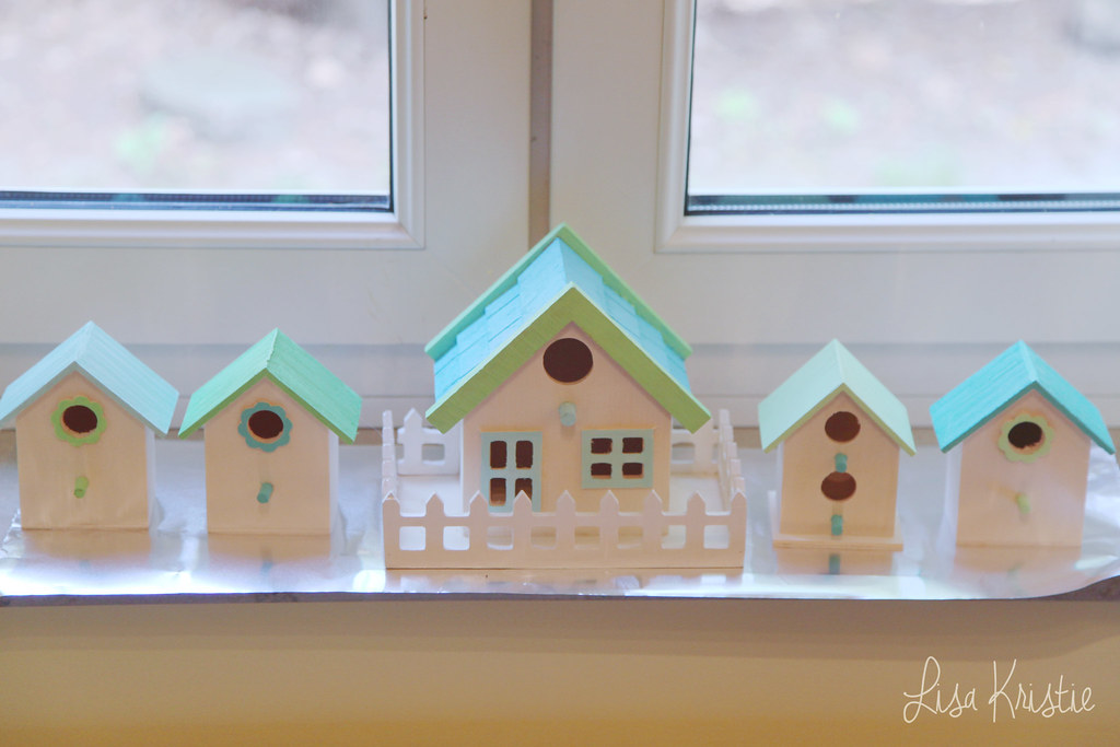 diy craft handmade painted birdhouses bird houses nursery baby room decoration interior ideas inspiration gender neutral cute adorable