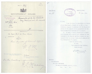 Secretary of State for the Colonies, Lewis Harcourt, to the Governor General, Arthur Foljambe, 2nd Earl of Liverpool, regarding assassination of Archduke Franz Ferdinand (1914)