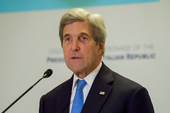 U.S. Secretary of State John Kerry, flanked by Italian Foreign Minister Paolo Gentiloni, addresses reporters on Mediterranean issues on December 2, 2016, following an Italian-hosted multinational conference about Mediterranean issues at the Parco dei Principe Hotel in Rome, Italy. [State Department photo/ Public Domain]