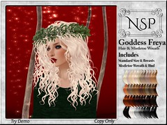 NSP Goddess Freya Hair & Mistletoe Wreath - Naturals Loaded