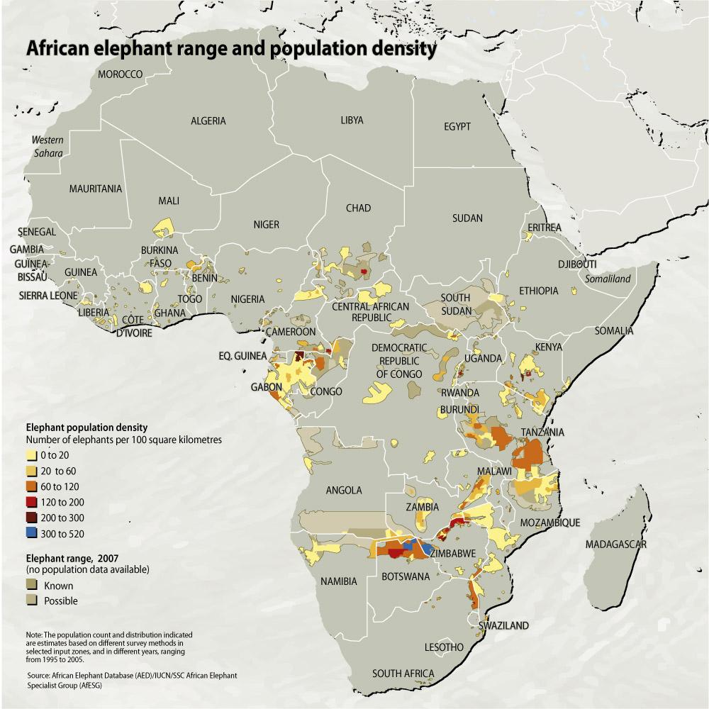 African Elephant Range And Population Density Grid Arendal