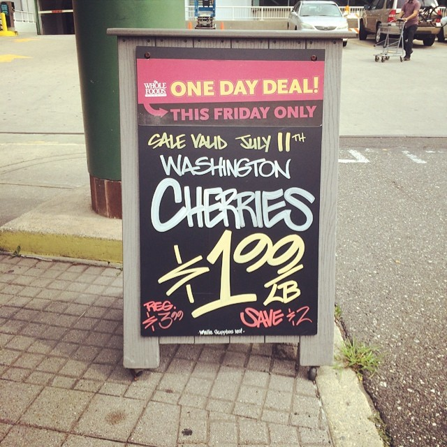 This Friday is the annual cherry sale at Whole Foods Market! Very exciting!