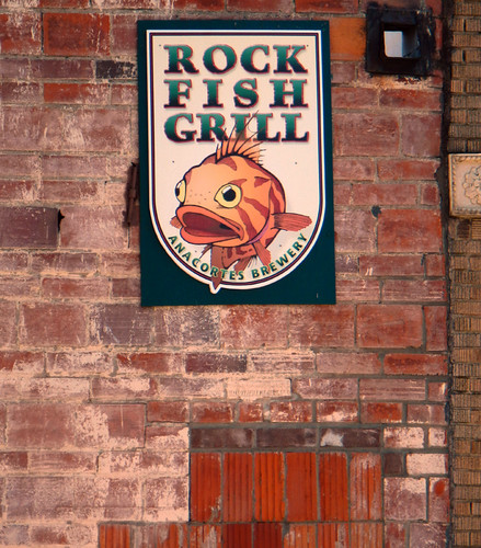 Rock Fish Grill Brick and Sign