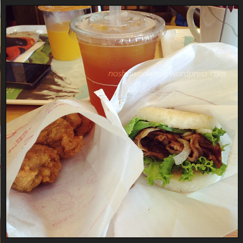 MOS Burger-fride chicken, pork rice burger, litchi ice tea