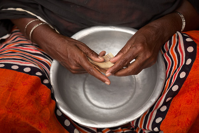 Hands of a woman in the streets of Dhaka, Bangladesh.