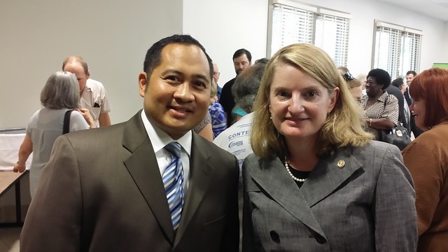 Delegate Ron Villanueva and Secretary of Natural Resources Molly Ward at the press conference