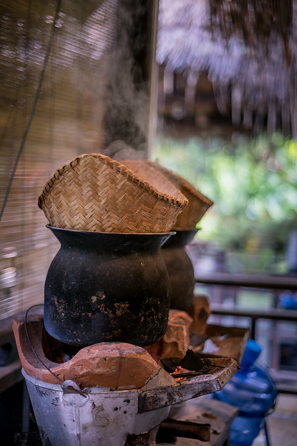 Steaming rice traditional style