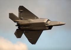 sukhoi su-35bm(0.0), general dynamics f-16 fighting falcon(0.0), lockheed martin f-35 lightning ii(0.0), mcdonnell douglas f-15 eagle(0.0), lockheed martin f-22 raptor(1.0), aviation(1.0), airplane(1.0), wing(1.0), vehicle(1.0), fighter aircraft(1.0), jet aircraft(1.0), air force(1.0),