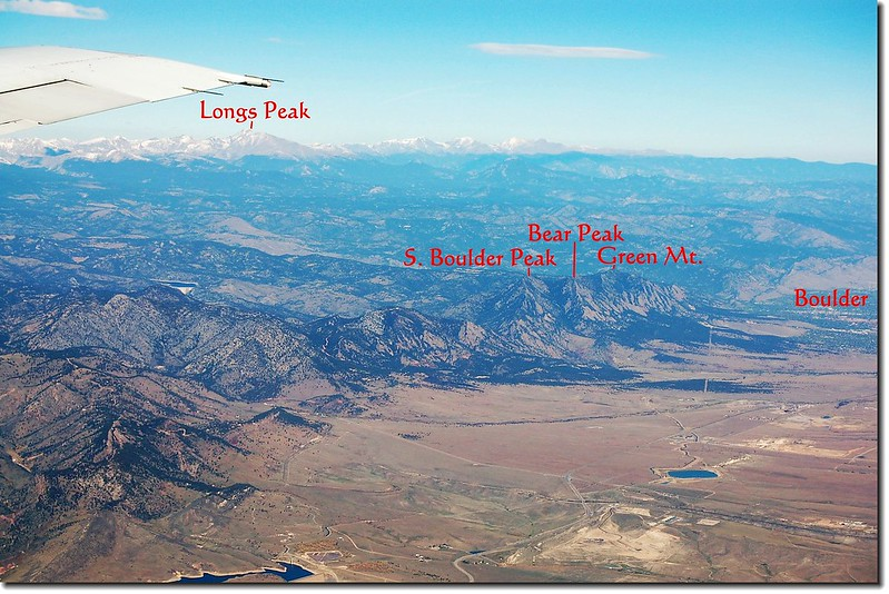 Looking down  Front Range from the air, Longs Peak is the highest summit under the wing 1-1
