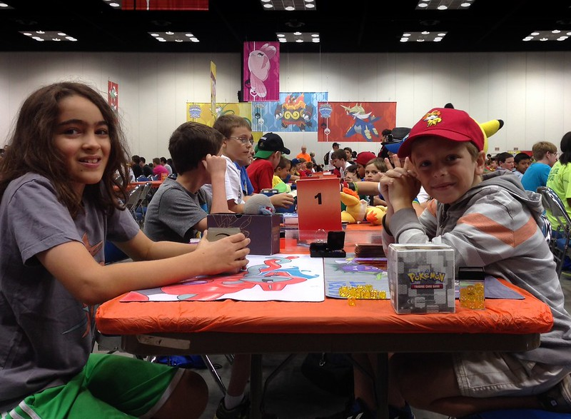 Noah and Kaden at Table 1 - Pokemon National Championships 2014