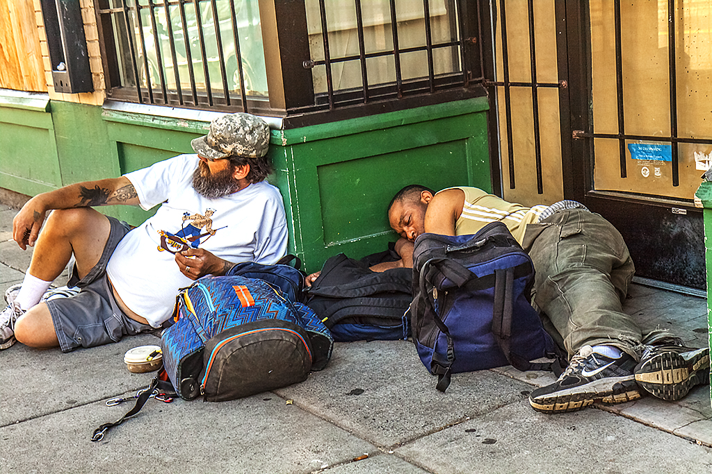 Two-homeless-men-in-Chinatown-on-6-29-14--Portland