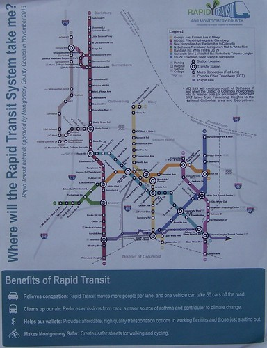 Flyer, side two, route map, bus rapid transit system, Montgomery County Maryland