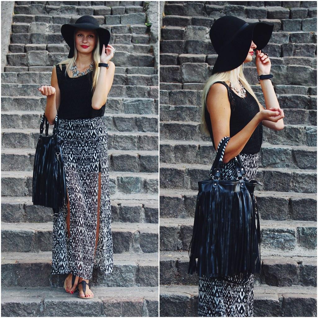black-aztec-print-maxi-skirt
