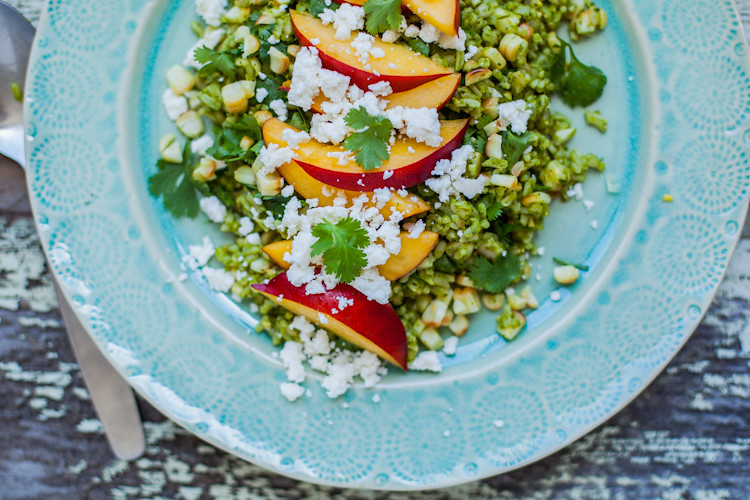 Green Rice Salad with Nectarines and Corn