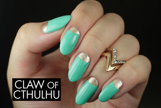 Turquoise and Gold Half Moon Nail Art