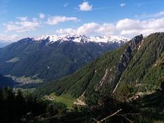 Ausblick Aufstieg Kreuzkofel, rechts der Wolfskofel