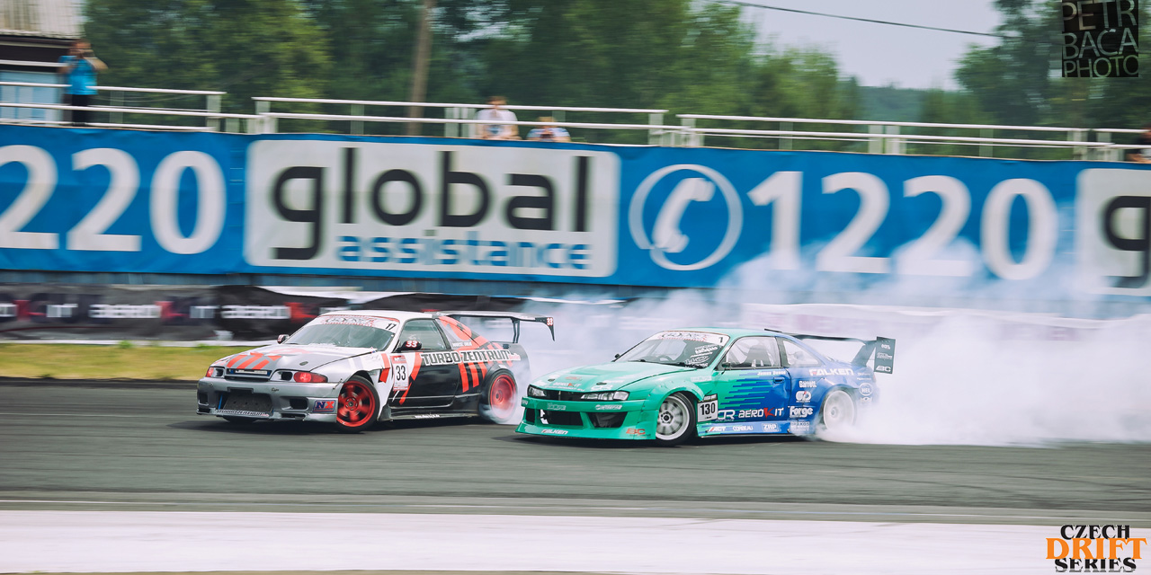 Czech Drift Series, CDS, Drift Allstars, Autodrom Sosnová, Česká Lípa, Nissan Skyline R33, Marcel Uhlig, Nissan S14 Silvia, James Deane, Aerokit,