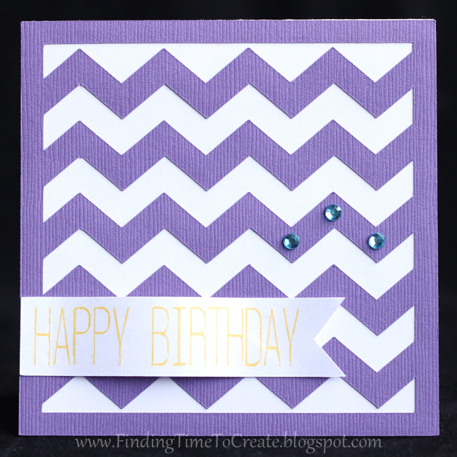 Chevron Birthday Card - purple