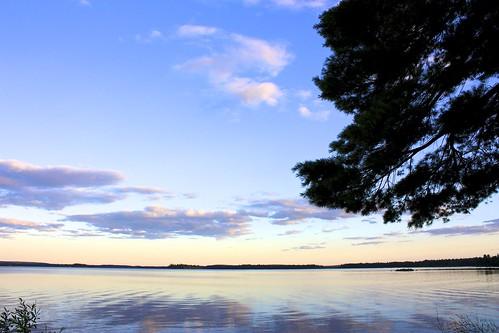 blue sunset lake water clouds glow maine