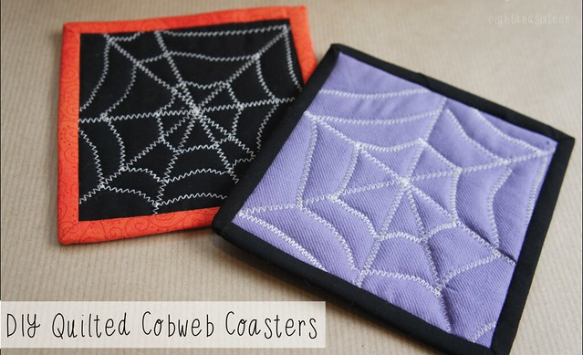 diy quilted cobweb coasters halloween crafts