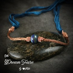 Island Sky Getaway- Lampwork and Copper Viking Knit Necklace