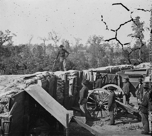 Sherman's men in a Confederate fort near Atlanta