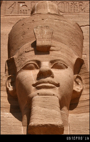 Detail of the colossi of Ramesses