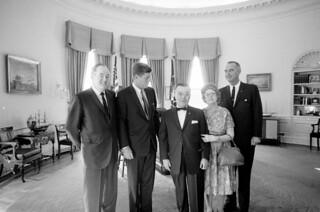 President John F. Kennedy with Vice President Lyndon B. Johnson, Senator Hubert Humphrey (Minnesota), and Guests