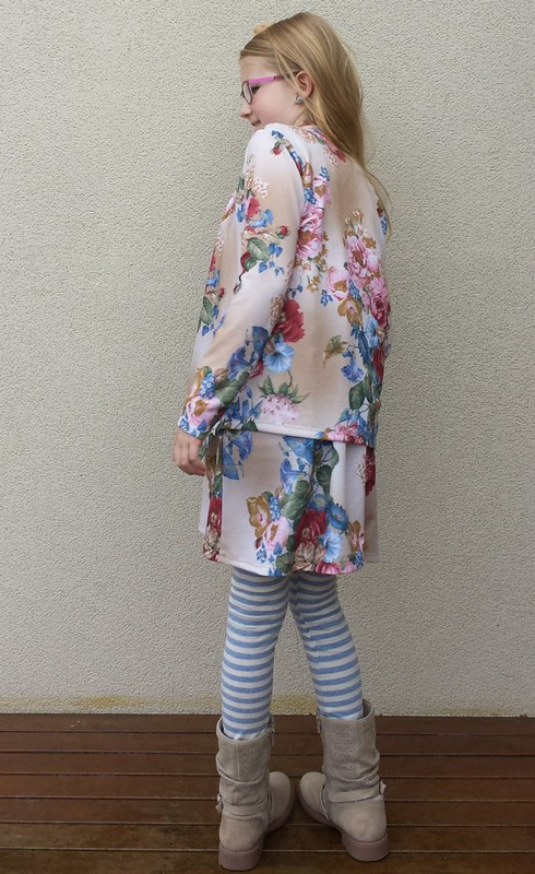 Figgys Ethereal dress and Swoon Scarf Neck Cardi in knit from Darn Cheap fabrics