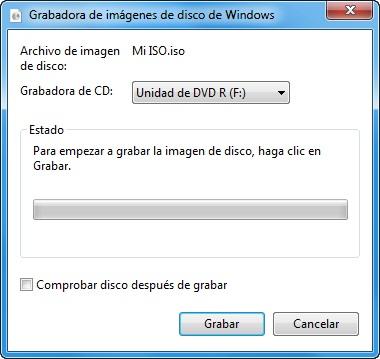 Grabar disco iso en Windows 8