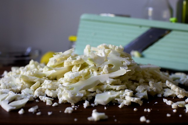 thinly sliced raw cauliflower