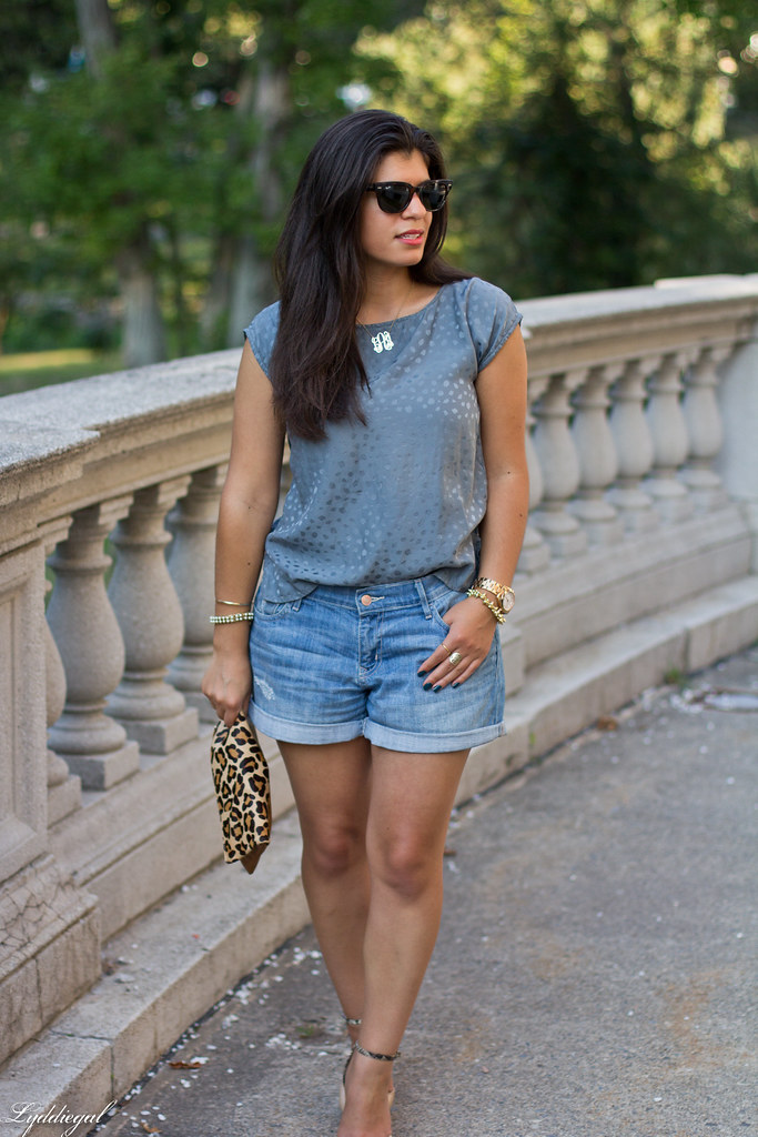 boyfriend denim shorts, silk top, leopard clutch-3.jpg